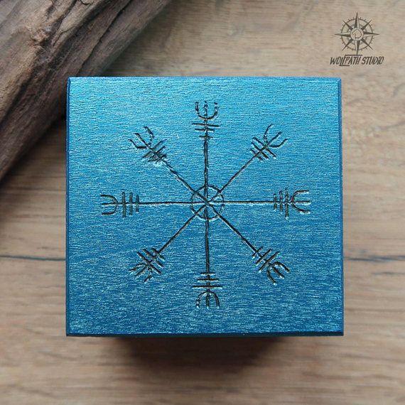 Aegishjalmur rune box Viking box Norse runes chest wooden