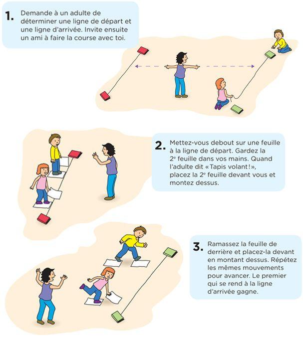 La course en tapis volant. Matériel: 2 feuilles de papier par enfant (vieux journaux, circulaires ou papier de bricolage). Téléchargez et imprimez les instructions. #enfant #jeux