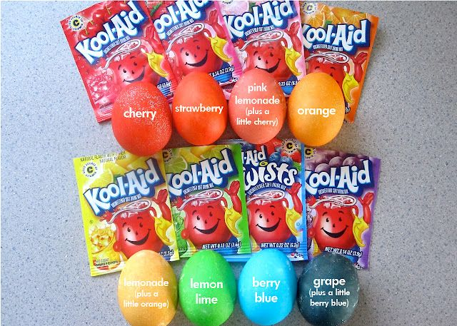 color easter eggs with kool-aid, no vinegar, great smells!