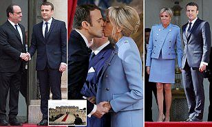 Emmanuel Macron was seen kissing his glamorous wife (both pictured) after being inaugurated as France 's youngest ever president at a lavish ceremony at the Elysee Palace in Paris