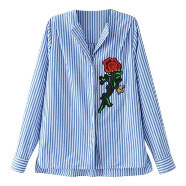 Patched High Low Shirt (685 UYU) ❤ liked on Polyvore featuring tops, blouses, stripe top, striped top, blue top, stripe blouse and blue stripe blouse