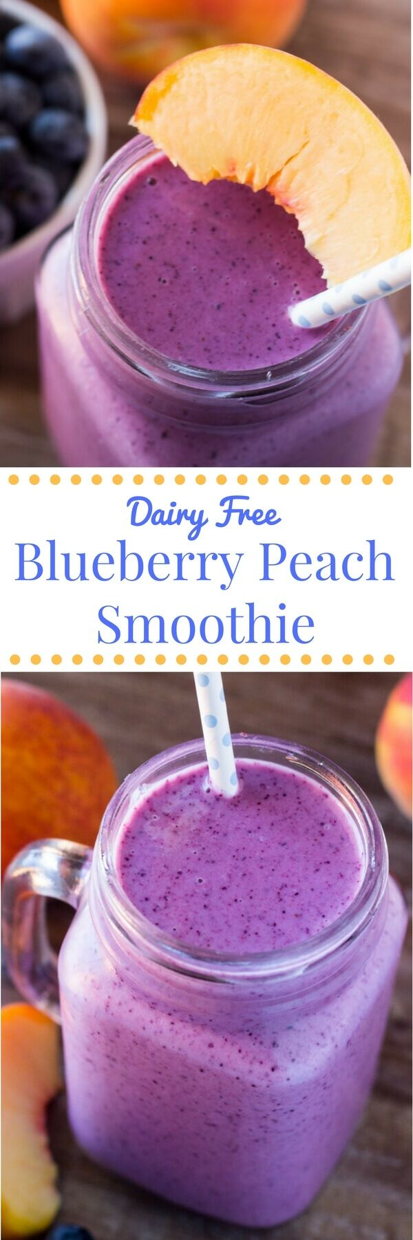 This blueberry peach smoothie with almond milk is dairy free, naturally sweetened & so delicious from the fresh summer fruit. 4 ingredients & perfectly refreshing!