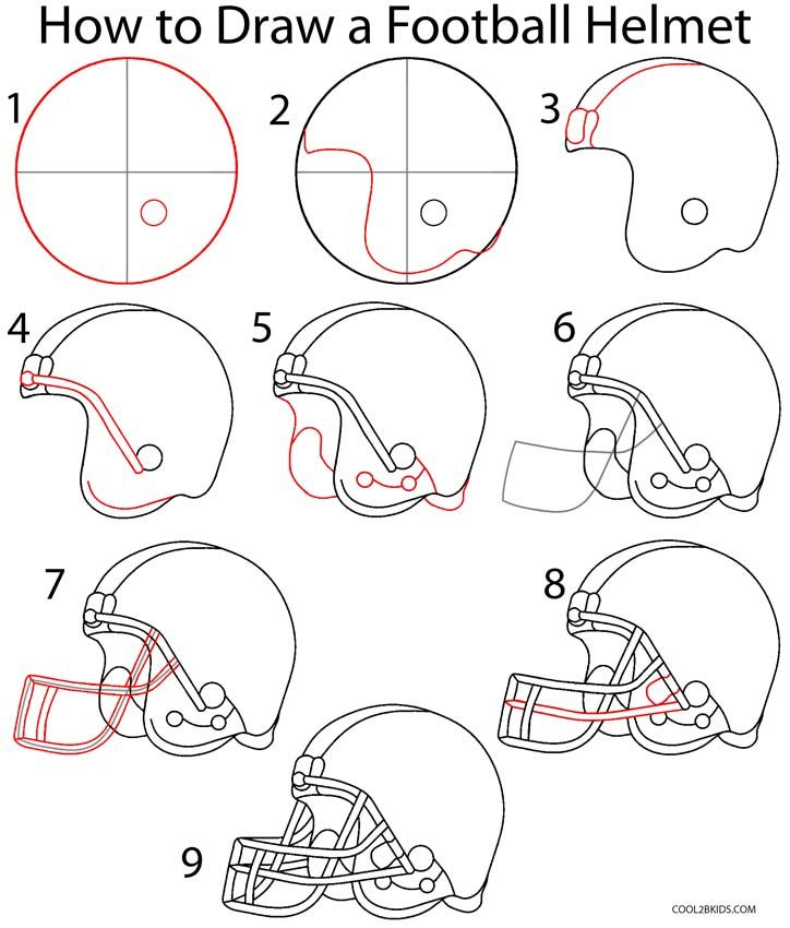 How to Draw a Football Helmet Step by Step Drawing Tutorial with Pictures | Cool2bKids