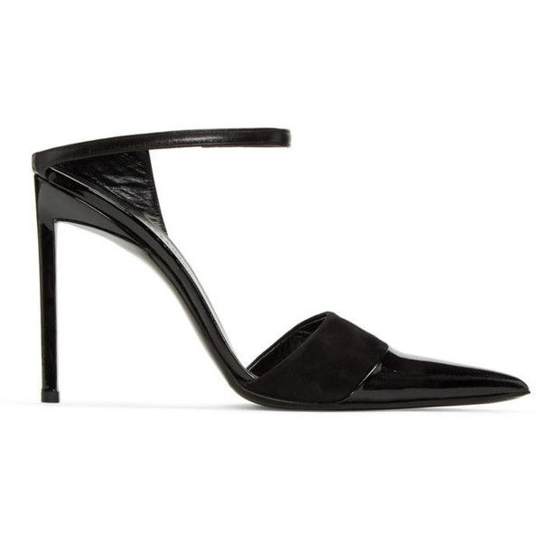 Haider Ackermann Black Open Back Heels (€855) ❤ liked on Polyvore featuring shoes, pumps, black pointed toe pumps, black patent leather shoes, high heel stilettos, patent pumps and patent leather pumps