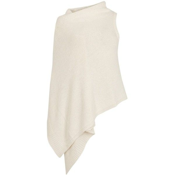 EILEEN FISHER Cream Wrap-front Cotton Blend Cardigan - Size L/XL ($340) ❤ liked on Polyvore featuring tops, cardigans, cotton blend cardigan, wrap front top, eileen fisher, white cardigan and chunky knit cardigan