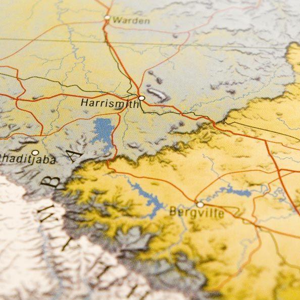 Detail from South Africa map: lammergaier's eye view of the northern Drakensberg or Ukhahlamba range
