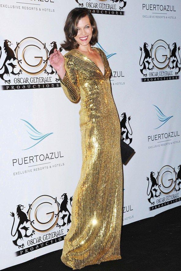 Milla Jovovich wore a Saint Laurent sequin gown.