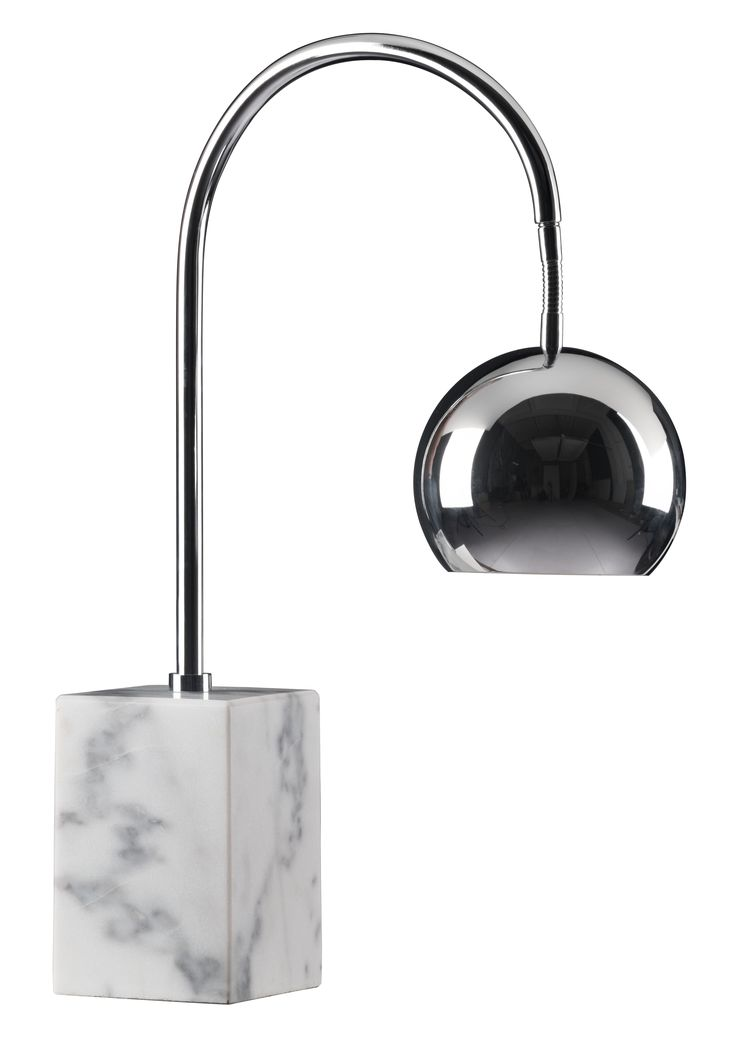 Transitional Desk Lamp on Marble Base with Chrome Metal Shade