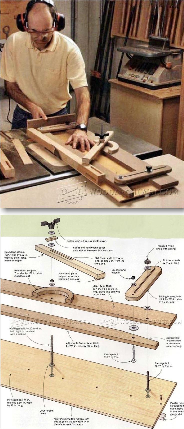 Tapering Jig Plans - Furniture Leg Construction | WoodArchivist.com #WoodworkingTools