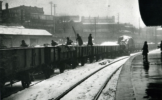 Snow and train (quite an old image of Katoomba Station Blue Mountains ) This photo taken on the platform headed toward Lithgow The closest date from observation is stated to be 1950's era (ve)