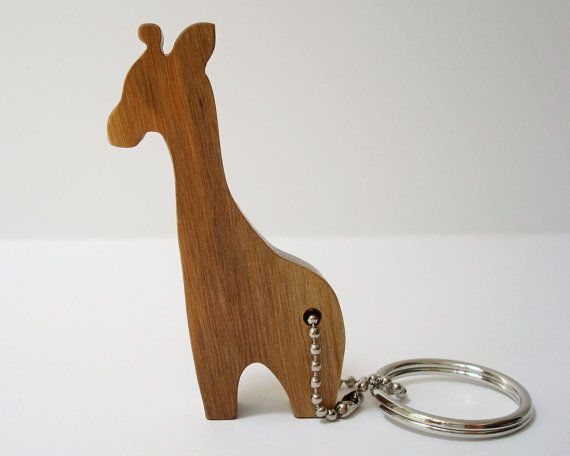 Giraffe Key Chain Silhouette Outline Persimmon Wood Scroll Saw Outline Keychain