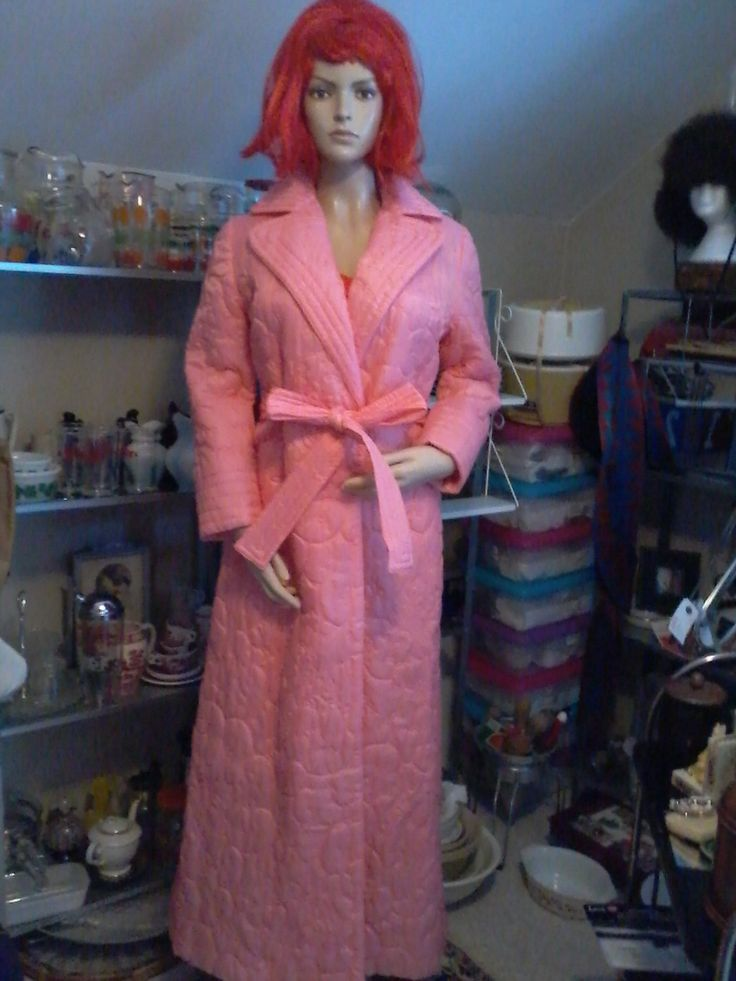 Cozy quilted house coat in beautiful pink size small with origianal tag by Mr. Roberts would be great for Valentines Day by MajorVintageShop on Etsy
