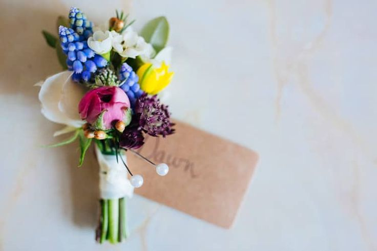 Buttonhole Groom Grape Hyacinth Spring Wax Flower Quirky Colourful Relaxed Fun Barn Wedding http://www.lushimaging.com/