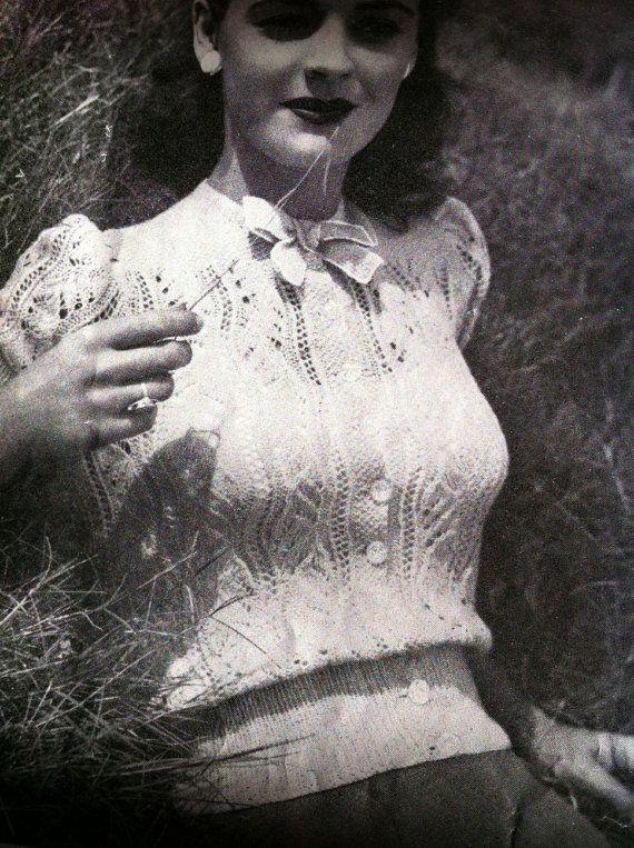 40s English Summer Lace Blouse Australian vintage knitting pattern by VanessaLovesVintage, $1.99