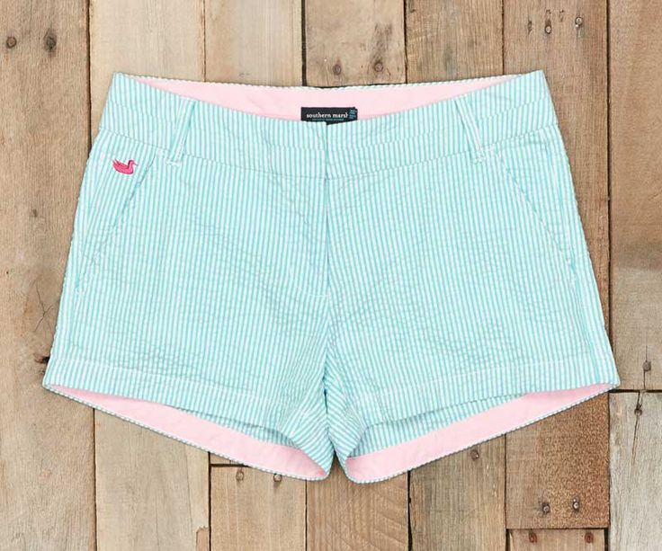 Southern Marsh Brighton Seersucker Shorts in Bimini Green BBSS-BG