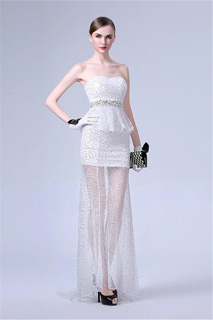 Sheath Strapless White Tulle Sequin Peplum Prom Dress With Beading Sash