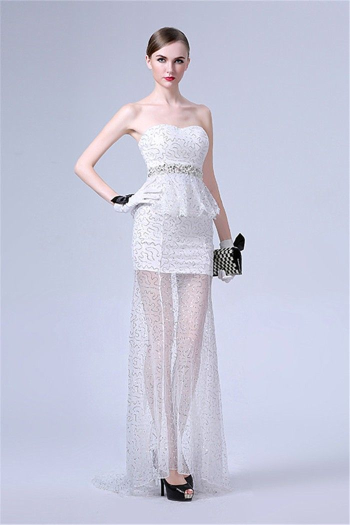 Sheath Strapless White Tulle Sequin Peplum Prom Dress With Beading Sash