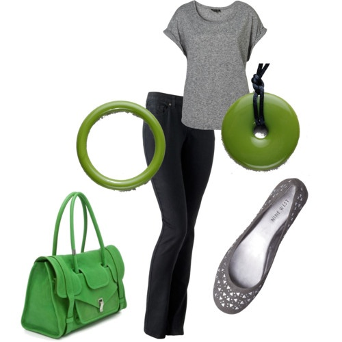 Casual outfit. Love green and grey.