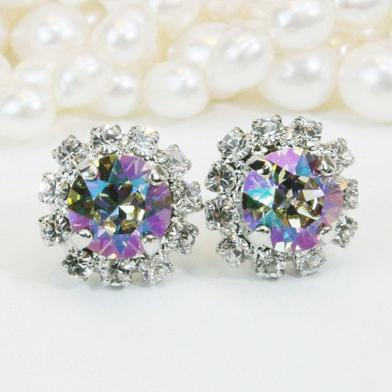 Green Swarovski Crystal Stud Earrings Purple Green Studs Pale Green Wedding Green Bridesmaids Gift Clear Halo,Silver,Luminous Green,SE95
