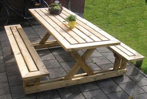 DIY picnic bench. Made completely by 2x4s.