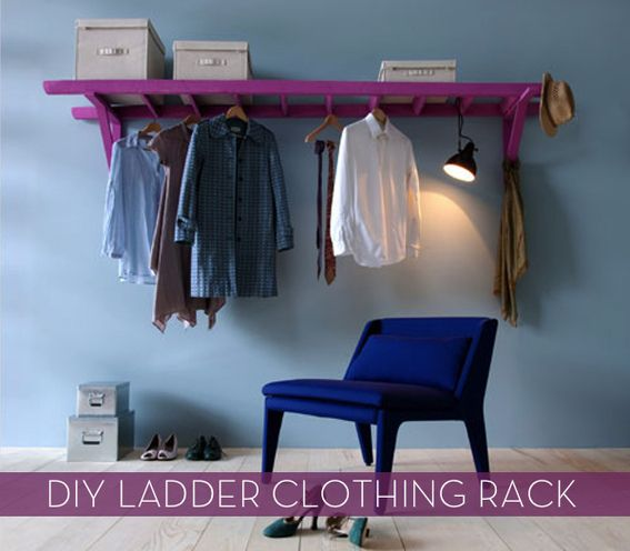 DIY: Ladder Clothing Rack - on wall or in closet...
