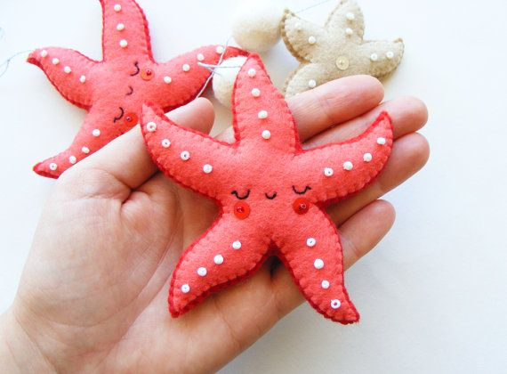 PDF pattern - Starfish mobile - Felt ornaments, easy sewing pattern, DIY, hand sewing pattern, summer decoration