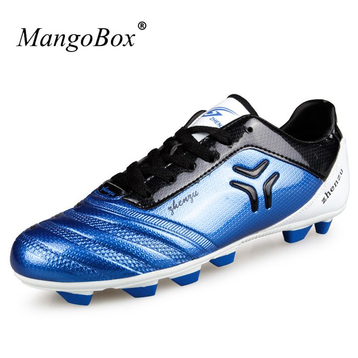 New Arrival Mens Sports Shoes Football Leather Mens Soccer Shoes Outdoor Blue Red Training Football Kids Cheap Soccer Boots