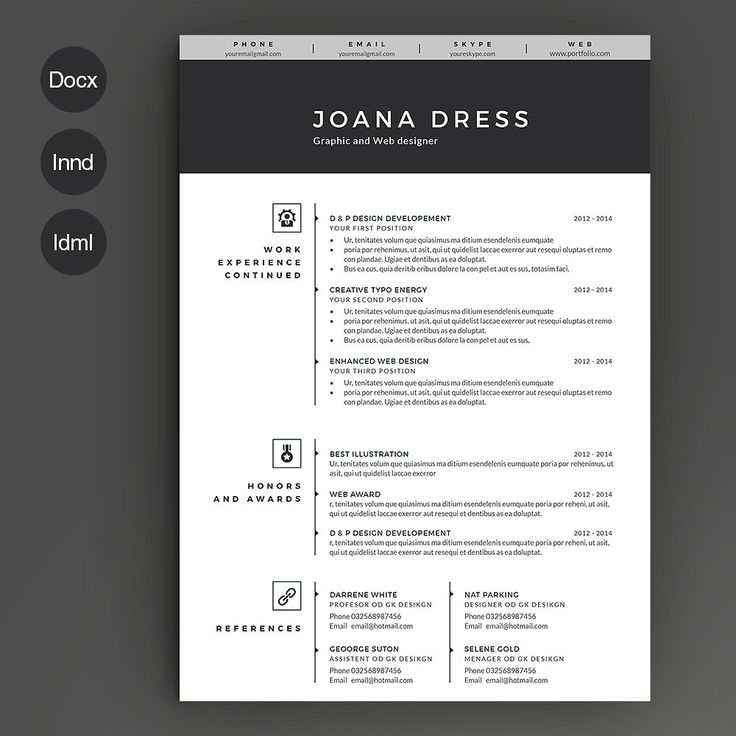 Resume Template 2 pages by Estartshop on @creativemarket