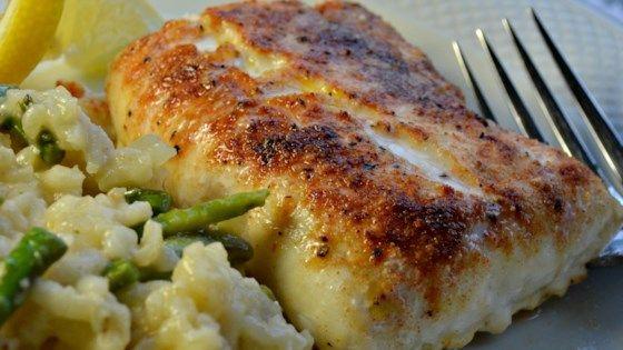 Haddock fillets are simply seasoned with onion powder, paprika, garlic powder, a…
