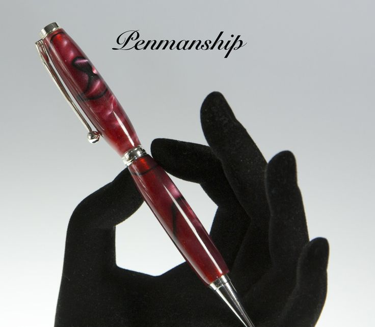 Fancy Slimline Pen in Carmine with black lines Acrylic finished of in Silver. Unisex modern style pen makes the perfect gift. by PenmanshipAustralia on Etsy