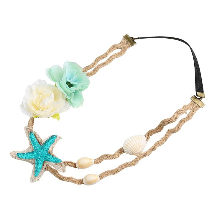 BABEYOND Christmas Photography Shell Wave Headband Elastic Hairband Turquoise Starfish Forehead Bands Mermaid Hair Accessories (Starfish Flowers Headband) -- Want additional info? Click on the image. #hairtreatment
