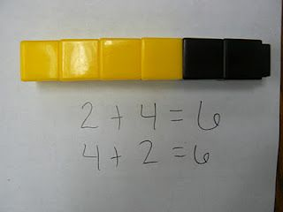 Use uni-fix cubes to represent turn-around facts.