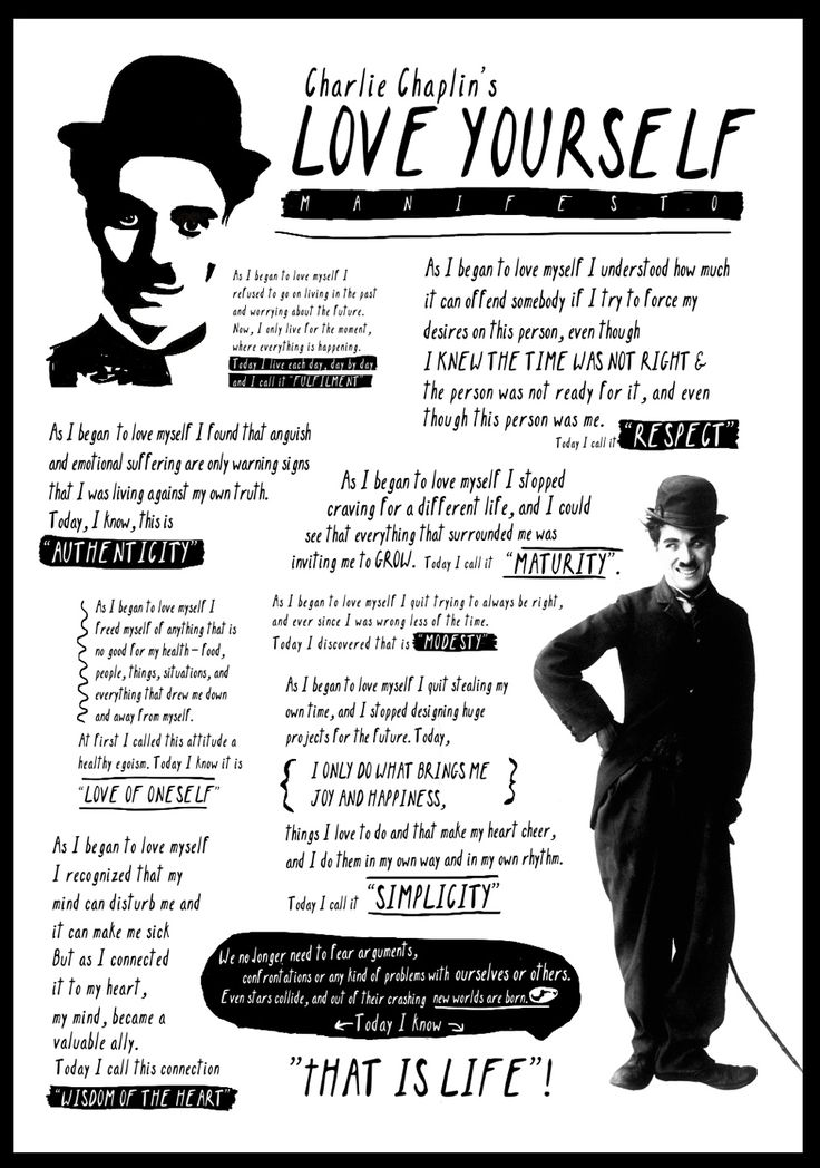 Charlie Chaplin's Love Yourself Manifesto