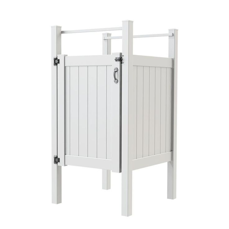 Vinyl Outdoor Shower Stall Kit With Un Assembled Gate