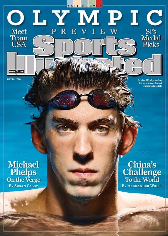 8 olympic gold medalist Michael Phelps on cover of Sports Illustrated. I totally used this to kept track of the winners and see how closely SI got in their medal picks.
