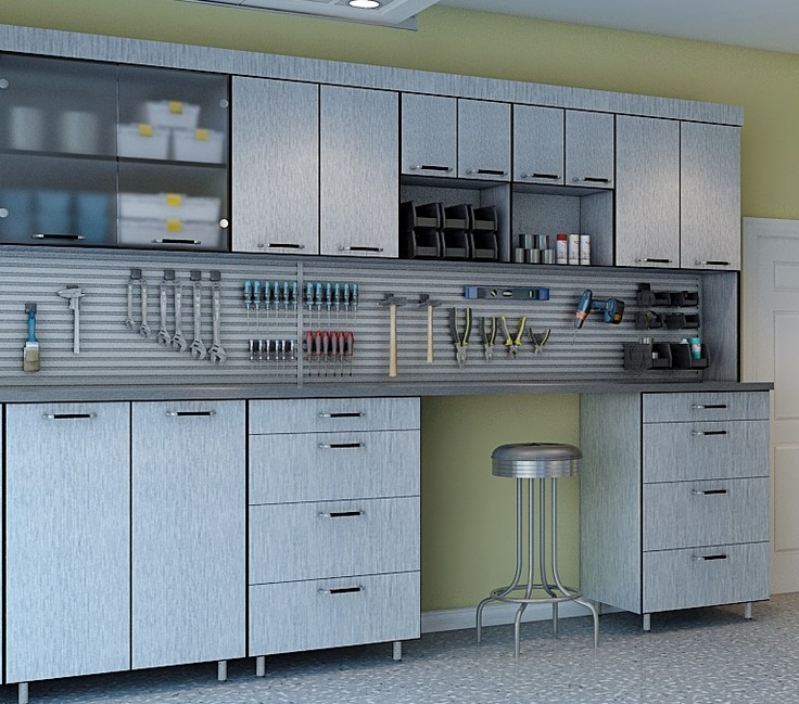 Garage brushed aluminum cabinets roselawnlutheran for Brushed aluminum kitchen cabinets