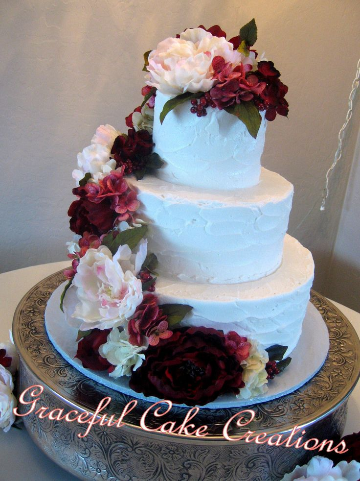 https://flic.kr/p/wKhtiD | Elegant Textured Butter Cream Wedding Cake accented with Blush Pink and Burgundy Peonies and White and Dark Pink Hydrangea