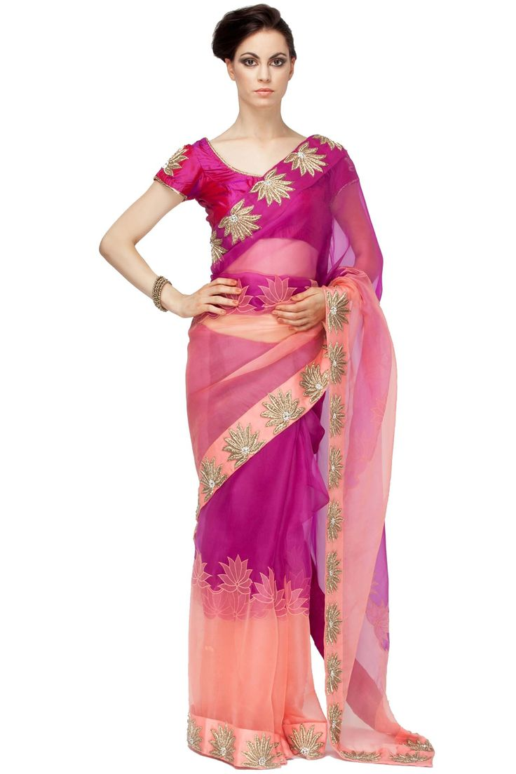 Motifs dabka work saree by Red Couture