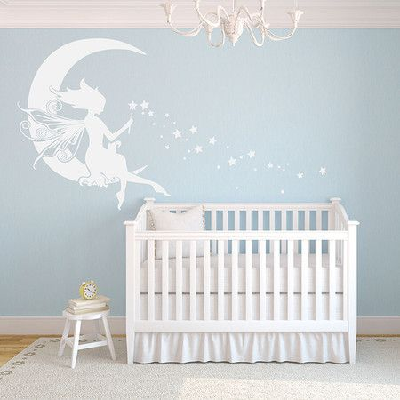 Perfect for a child's room or adorning an accent wall, this charming fairy decal brings a whimsical touch to your decor.  Product: