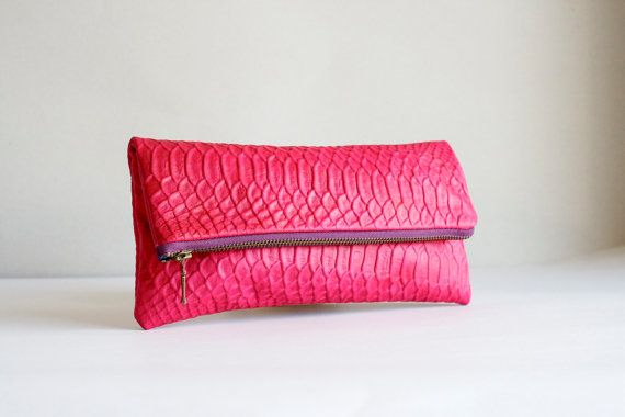 Foldover Clutch Amarena / Leather Clutch / Leather Bag / Clutch Purse / Clutch Bag / Boho Bag / Pink Bag / Gifts for her