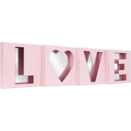 Better Homes and Gardens 4-Piece 8x8 Love Mirror Wall Art Set, Pink