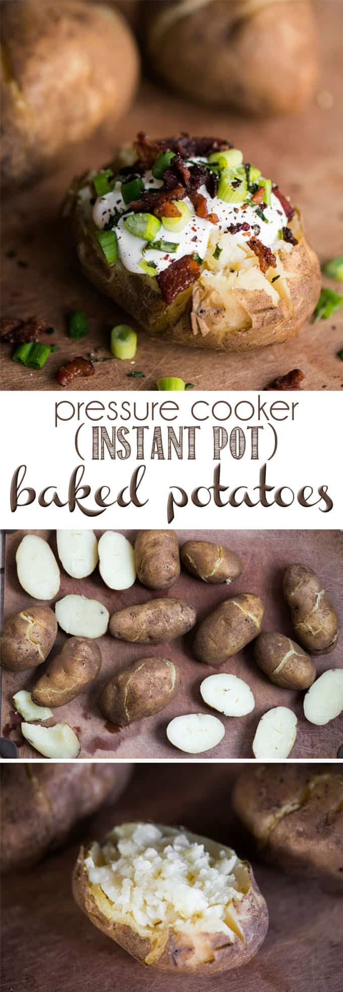 Pressure Cooker (Instant Pot) Baked Potatoes are far superior to any baked potato cooked in the oven or microwave. In just minutes, you'll have potatoes with a soft, moist creamy center and a dry, thin skin on the outside. You can even give them a rub in olive oil and salt and crisp them up in the oven if you want. #pressurecooker #instantpot #bakedpotatoes #potatoes