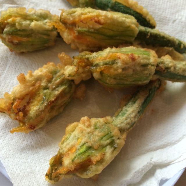 Tempura fried zucchini flowers stuffed with ricotta