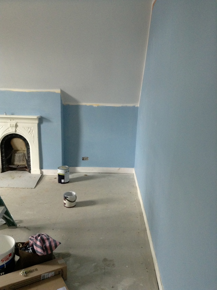 This is James' bedroom!!  F Lulworth Blue on the walls and Blackened on the ceiling (and nice soft grey), it's only half painted in this picture though ......
