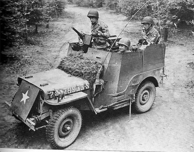 82nd Recon Armored Radio Jeep 4x4 with machine gun. The Jeep was dangerous in its normal form, but adding armor made almost more dangerous because of even higher tendencies of rolling over.
