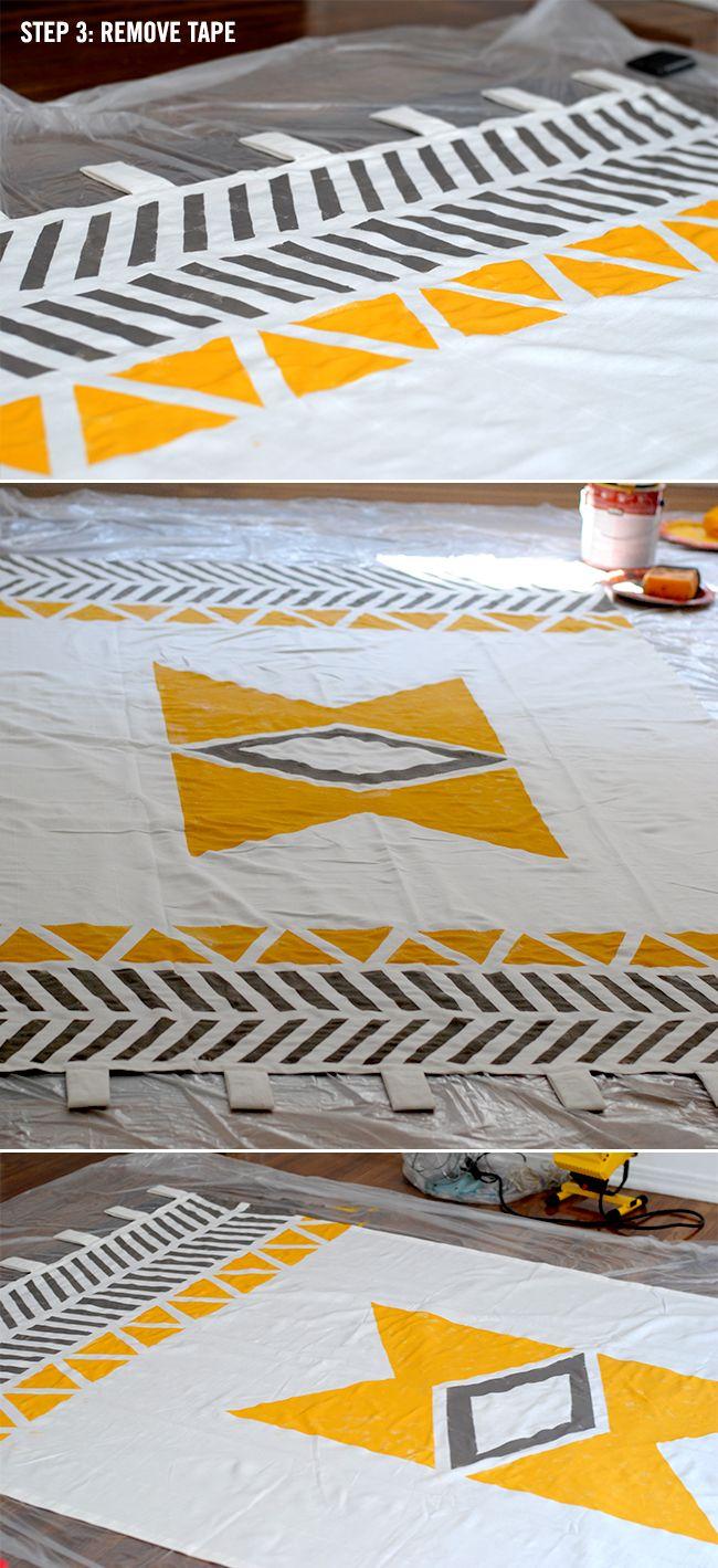 Geometric Painted Curtains DIY // LoveCreative Blog