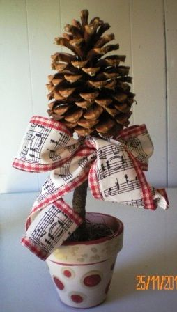 """Take part of the """"special Tree"""" with Pinecone still attached Pot Christmas Crafts 