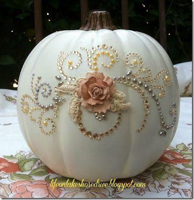 pretty white (glitzy) pumpkin....a pretty alternative to goblins and witches for Halloween.