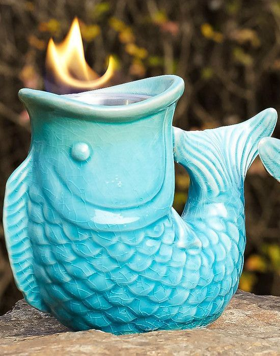 Table Top Ceramic Fish Indoor/Outdoor Fireplace ♥