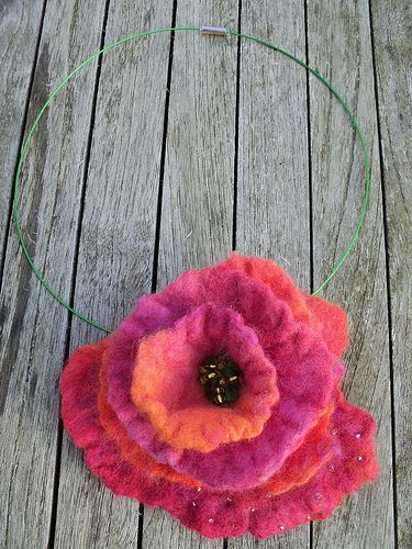 Handfelted flower necklace by Nicole de Boer, via Flickr